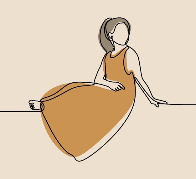 Dziewczyna ubrana w sukienkę jednoliniową ciągłą grafikę
