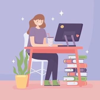 Dziewczyna ucząca się przy komputerze