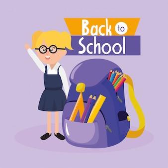 Dziewczyna uczeń jest ubranym szkła z plecakiem i naczyniami