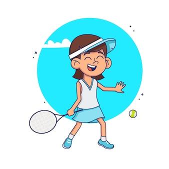 Dziewczyna uczy się grać w tenisa. dziecko grać w tenisa na białym tle. ilustracja