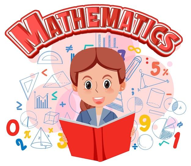 Dziewczyna uczy się matematyki z symbolem matematyki i ikoną