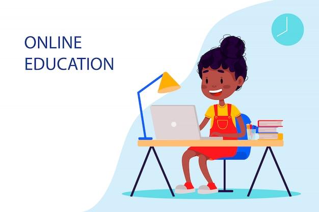 Dziewczyna uczy się online przy laptopie przy stole. płaskie ilustracji wektorowych dla stron internetowych.