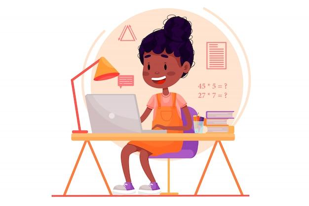 Dziewczyna uczy się online z laptopem przy stole w domu. płaskie ilustracja do stron internetowych na na białym tle. kwarantanna zostań pandemią domową