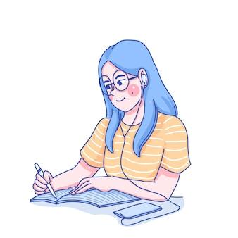 Dziewczyna uczy się samodzielnie ilustracji.