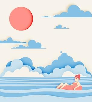 Dziewczyna unosi się na plaży z pięknym dennym tła papieru cięcia stylem