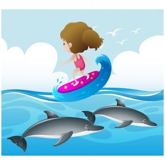 Dziewczyna uprawiania surfingu na morzu