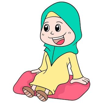 Dziewczyna uśmiecha się słodko i radośnie w muzułmańskim hidżabie, ilustracja wektorowa sztuki. doodle ikona obrazu kawaii.