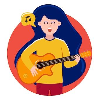 Dziewczyna w bańce śpiewa piosenki i gra na gitarze. słodka postać
