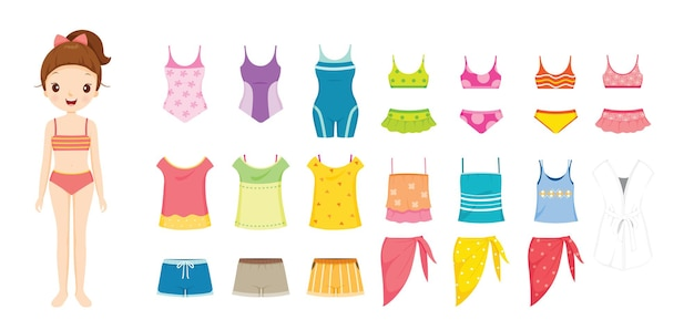 Dziewczyna w bikini i ubrania ustawione na lato