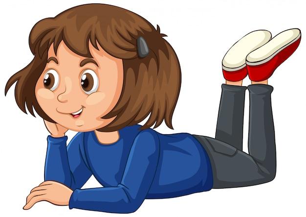 Dziewczyna w błękitnej koszula na odosobnionym