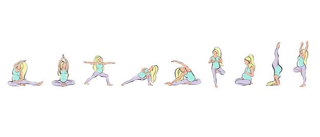 Dziewczyna w ciąży ćwiczy jogę lub pilates