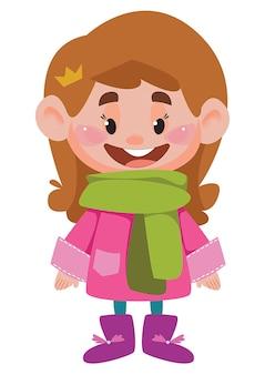 Dziewczyna w ciepłej kurtce i zielonym szaliku zimowy strój dziecka duża głowa w kreskówkowym stylu