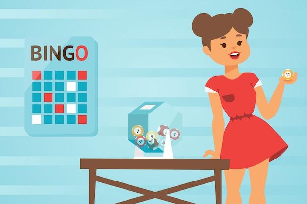 Dziewczyna w czerwieni sukni gości bingo grę, ilustracja. młoda kobieta podnosi szczęśliwą liczbę loteryjna piłka. postać z kreskówki ładna dziewczyna gra w bingo. wydarzenie rozrywkowe