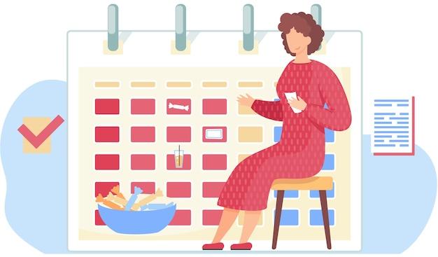 Dziewczyna w czerwonej sukience siedzi z kartami w dłoniach. kobieta zastanawia się nad następnym ruchem. zarządzanie pracą biurową. rozkład jazdy lub kalendarz w tle. dziewczyna jest zadowolona z talerza słodyczy