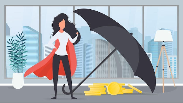 Dziewczyna w czerwonym płaszczu. parasol pokrywa górę złotych monet. koncepcja bezpieczeństwa biznesu i finansów. wektor.