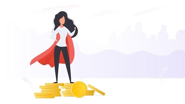 Dziewczyna w czerwonym płaszczu stoi na górze złotych monet. kobieta superbohatera. wektor.
