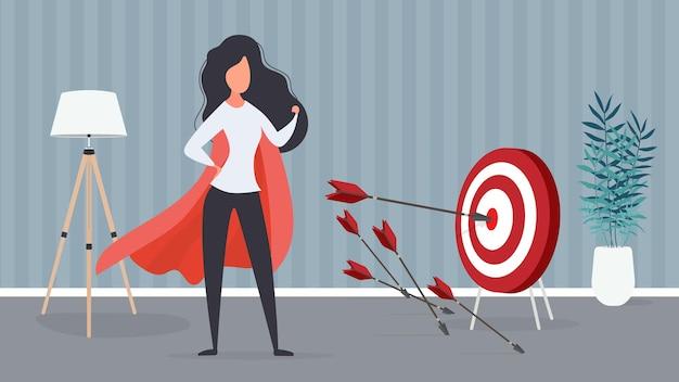 Dziewczyna w czerwonym płaszczu trafia w cel. duży cel. strzała uderzająca w środek tarczy. kobieta superbohatera. wektor.