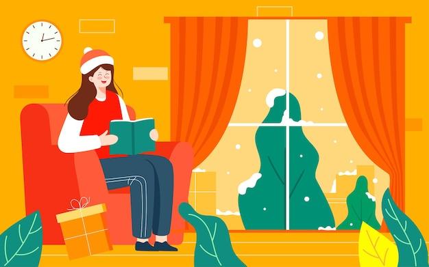 Dziewczyna w domu czytanie studium ilustracja dziewczyna dom wakacyjny dom wypoczynek plakat