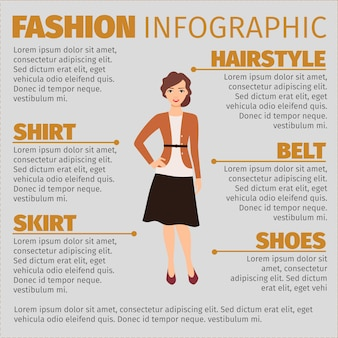 Dziewczyna w infographic mody jesień kostium
