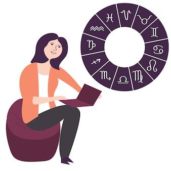 Dziewczyna w internecie ogląda astrologiczną prognozę