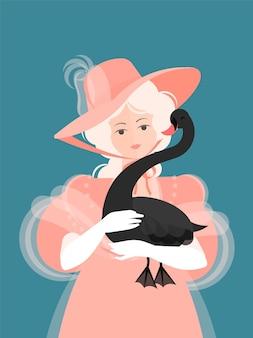 Dziewczyna w kapeluszu i różowej puszystej sukience z xviii-xix wieku stoi i trzyma w rękach czarnego łabędzia. ładny portret. kolorowa ilustracja w stylu cartoon płaski.