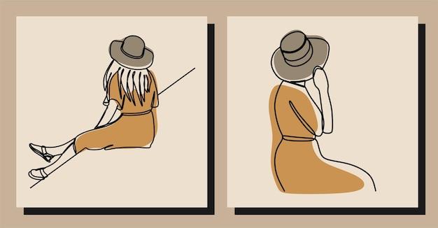 Dziewczyna w kapeluszu jednoliniowa linia ciągła sztuka wektor premium