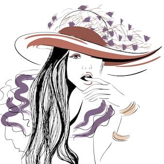 Dziewczyna w kapeluszu z otwartymi ustami