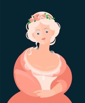 Dziewczyna w koralowej sukience z koronką z xviii-xix wieku. na głowę wieniec z kwiatów. szlachetny portret. kolorowa ilustracja w stylu cartoon płaski.