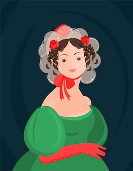Dziewczyna w koronkowym kapeluszu z xviii i xix wieku z czerwoną kokardką i zieloną sukienką. śliczne loki na głowie. szlachetny portret. kolorowa ilustracja w stylu cartoon płaski.