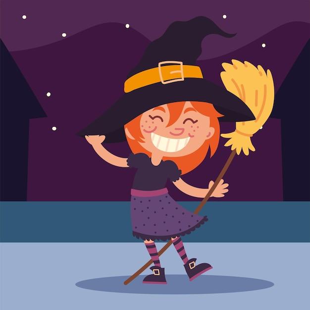 Dziewczyna w kostiumie czarownicy