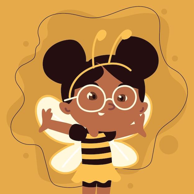 Dziewczyna w kostiumie pszczół