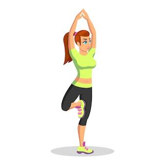 Dziewczyna w mundurze sportowym stojąc w vrikshasanie, robienie pozy drzewa. młoda brunetka kobieta praktykowania jogi hatha w klubie fitness lub w domu. ilustracja kreskówka na białym tle.
