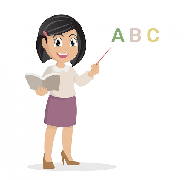 Dziewczyna w nauczycielu uczy lekcję.