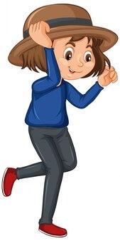 Dziewczyna w niebieskiej koszuli na białym tle