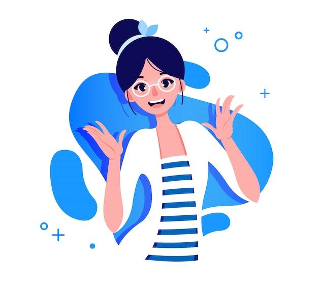 Dziewczyna w okularach ilustracyjnych