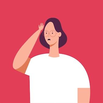 Dziewczyna w okularach o czymś zapomniała. postać kobiety z ilustracją złej pamięci na tle.