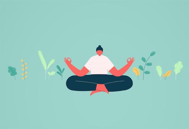 Dziewczyna w pozycji lotosu medytacji. pojęcie ładunku energetycznego i relaksu, rozwiązania biznesowe.