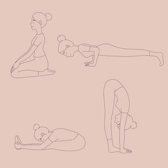 Dziewczyna w różnych pozach jogi w stylu linii