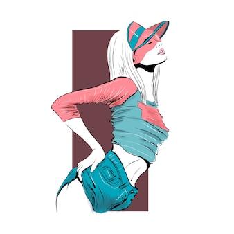 Dziewczyna w różowej czapce tenisowej