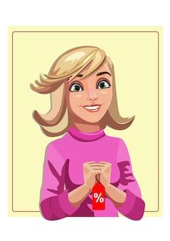 Dziewczyna w różowym swetrze uśmiecha się i trzyma kupon rabatowy na zakupy w czarny piątekvector