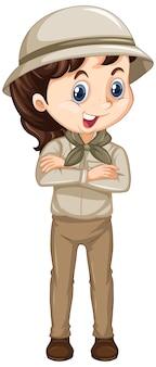 Dziewczyna w safari stroju na odosobnionym tle
