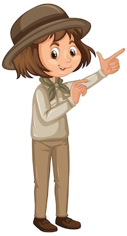 Dziewczyna w safari stroju na odosobnionym