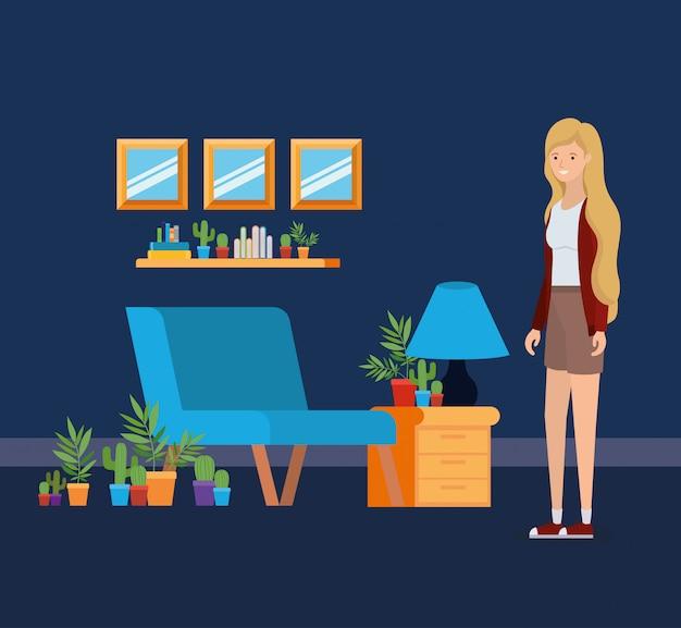Dziewczyna w salonie