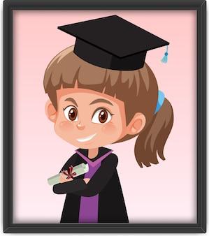 Dziewczyna w stroju dyplomowym w ramce na zdjęcia