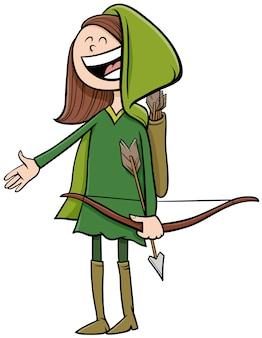Dziewczyna w stroju robin hooda na halloween party kreskówki ilustracja
