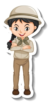 Dziewczyna w stroju safari naklejka z postacią z kreskówek