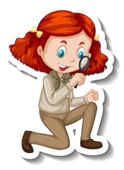 Dziewczyna w stroju safari używająca naklejki z postacią z kreskówek ze szkła powiększającego