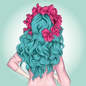 Dziewczyna w stylowy wieniec kwiatowy