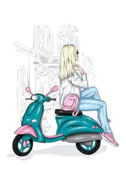 Dziewczyna w stylowych ubraniach i zabytkowym motorowerze