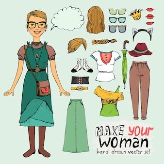 Dziewczyna w stylu retro lub hipster z elementami odzieży do infografiki